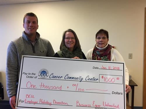 BEU is proud to announce that we raised $1000 for the Cancer Community Center at our annual holiday party! Each year our holiday party raises the spirits of our employees, while raising funds and awareness for a community program.