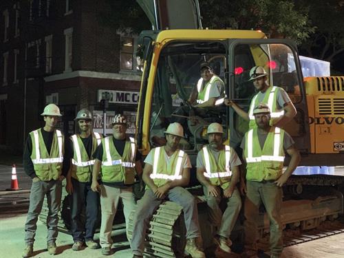 Night work on Main Street In Lewiston