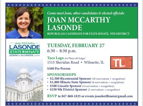Taco Laco, Wilmette. Join us February 27 as we kick off our campaign for State Senate with Deputy Governor Leslie Munger. #SaveIllinois