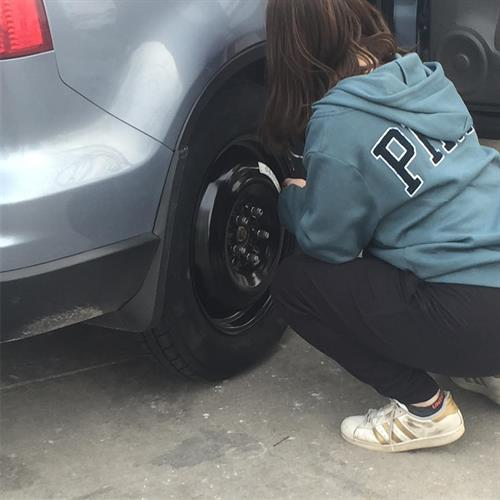 When your spare tire runs out of air! #STEMdaughter #campaigntrail
