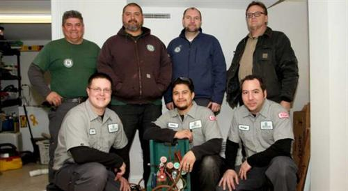 A few of our technicians coming together on a Saturday to help one of our country's veterans
