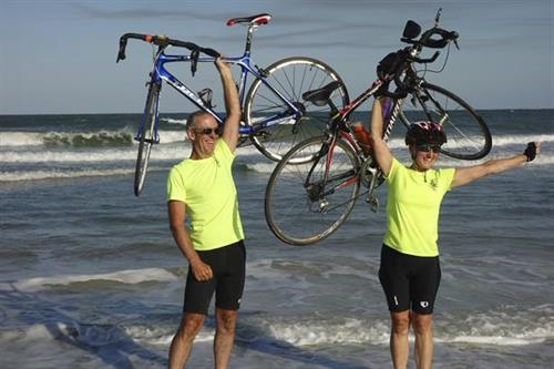 The Owners Jon & Kim finishing their ride across the USA to help find a cure for childhood cancer