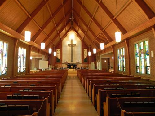 We bet you can't even tell what is original and what was added by Effective Air because Jonathan, the owner of Effective Air, is a wonderful woodworker and he was able to custom cover all of the duct work to match the structure of the the church.
