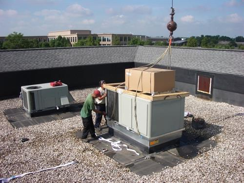 Installing a large rooftop unit