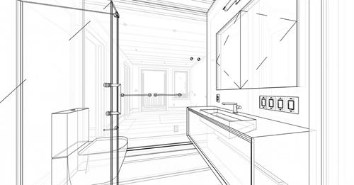 Bath Sketch: San Francisco, California Remodel and Addition