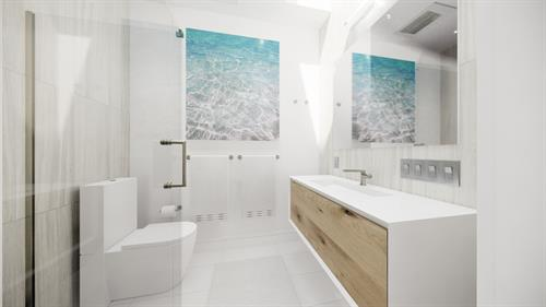 Bath VR Rendered with Lighting: San Francisco, California Remodel and Addition