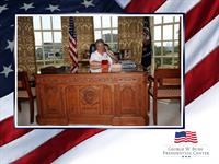 In the Oval Office at the Presidential library, SMU, Dallas