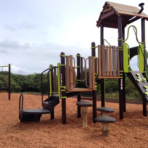 Brand new kids play area with mini climbing wall, slides and swingset