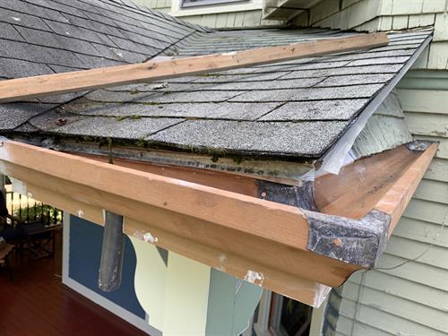 Exterior detail restoration, wood gutters and soffits