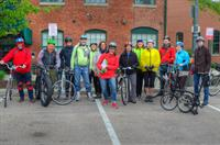Group ready to celebrate Biking to Breakfast Day