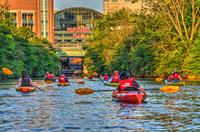 Paddling along the River in downtown Providence