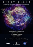 Providence based Steer Films to screen ''First Light: Celebrating 20 years of Chandra Observatory'' at The Explorers Club NYC on Oct 19, 2019.