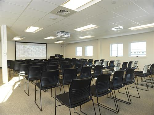 multipurpose room can be set theater, classroom, rounds or cocktail style