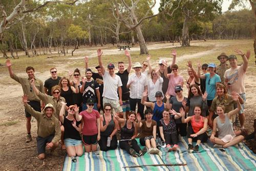Happy group upon conclusion of a single day wellbeing event in You Yangs Regional Park in Victoria