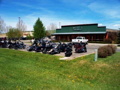 Motorcycle rally grabbing lunch at the Palisades Restaurant!