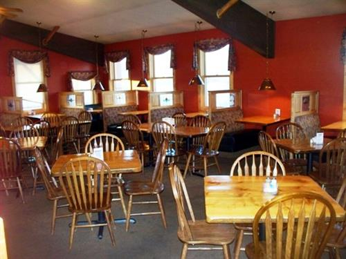 The dining side option. Complete with comfortable seating, a quiet environment, and beautiful artwork!