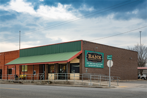 Front shot of the Bank of Cherokee County Hulbert Branch in Hulbert, Oklahoma.