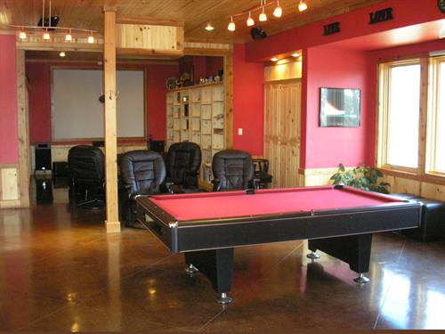Theater room and Pool table, common areas for guest Main lodge