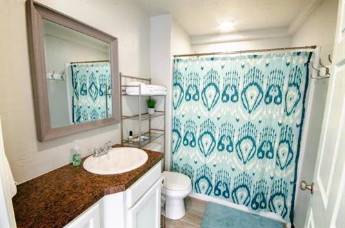 Bathroom at at The Spring Street Hideaway in Downtown Tahlequah Oklahoma