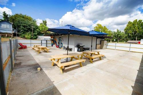 Spacious patio for entertaining at The Spring Street Hideaway in Downtown Tahlequah Oklahoma