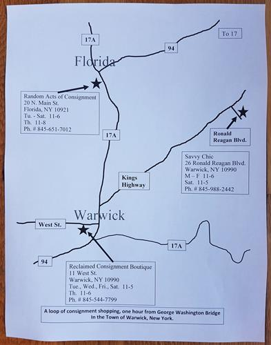Consignment shopping map for Town of Warwick
