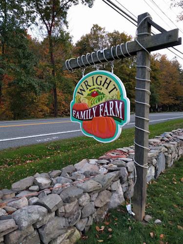 Wright Family Farm Sign - Carved HDU - Warwick, NY