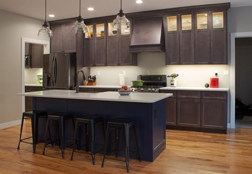 The regent blue island with shale grey kitchen cabinets.