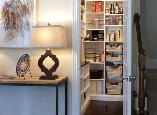 Organized pantry closet