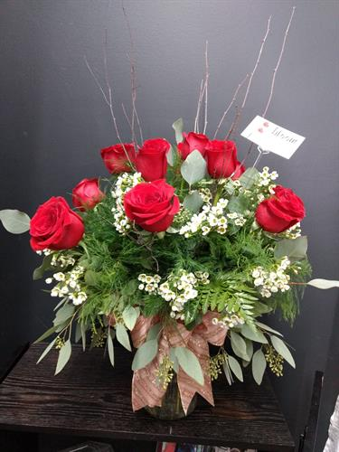 One Dozen Roses Arranged