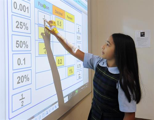 Lower School Math lesson on the Smartboard