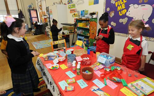 "First Grade ""Store"" where students learn about money exchanges"