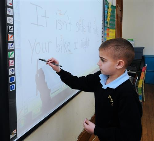 Second Grade Language Arts lesson on the Smartboard
