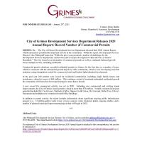 City of Grimes Development Services Department Releases 2020 Annual Report
