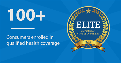 2018  CMS recognition for number of enrolled members in the Marketplace - 19 days into Open Enrollment