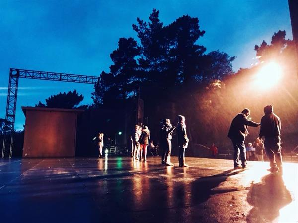 Not even the rain dampens the enthusiasm of the Into the Woods Cast during rehearsal