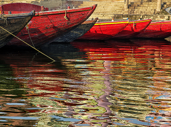 Boats on the Ganges Photograph by Gary Geiger of Gallery Sur