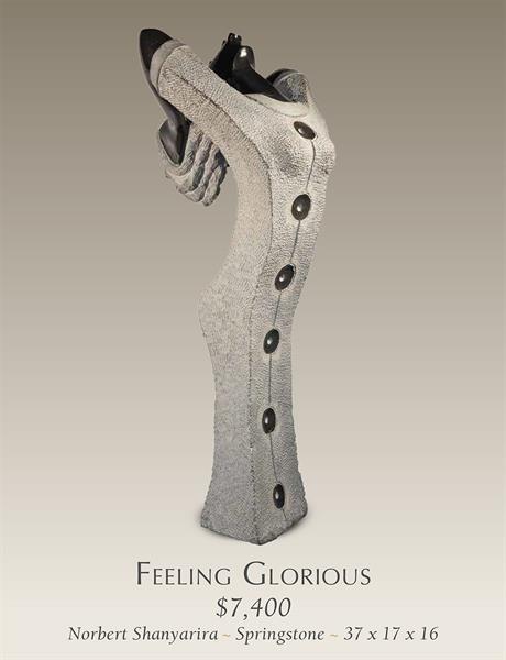 Feeling Glorious Stone Sculpture by Norbert Shamuyarira