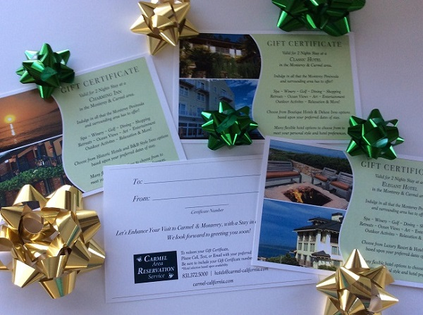 Hotel Gift Certificates for Preferred Carmel Monterey Area Hotels