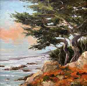 Along 17 Mile Drive Oil by Sheryl Knight
