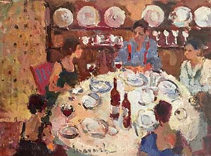 Six For Dinner Oil by Lesley  Rich
