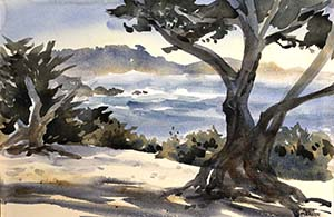 Carmel Beach Watercolor by Alicia Meheen
