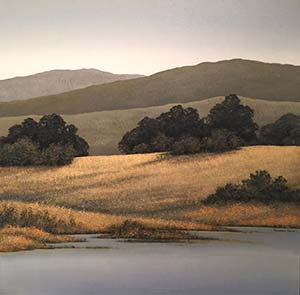 Hillside Oaks Acrylic by Richard Tette