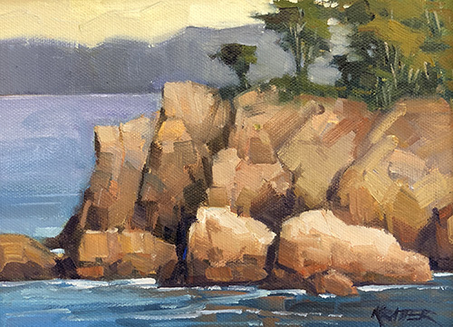 Rocky Perch Pt. Lobos Oil by Paul Kratter