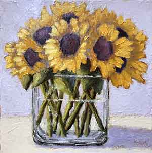 Sunflowers in Glass Vase Oil by Pat Doherty