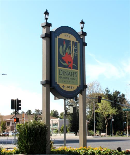 On-Street Sign, Dinah's Garden Hotel, Palo Alto