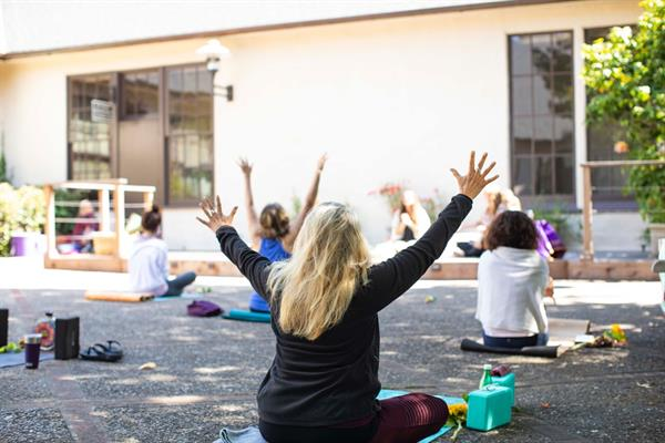 Outdoor yoga on the Sunset Center Terrace