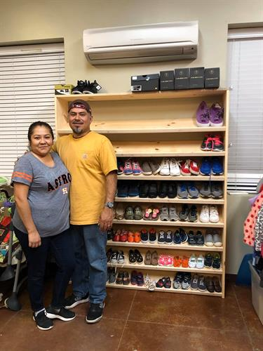 New Custom Shoe Racks....Amazing Volunteers