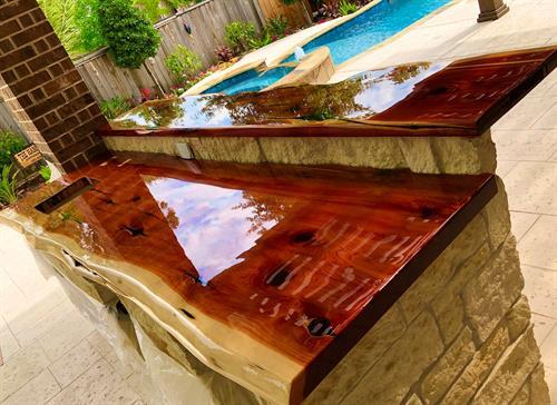 Outdoor red cedar countertop and bartop