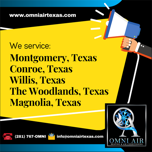 ??? Air conditioning repair services ??? in Montgomery TX, Conroe TX, Willis TX, The Woodlands TX and Magnolia TX is provided by OMNI Air & Heating LLC. Call us now at (281) 767-OMNI for checkups and we'll be there ??