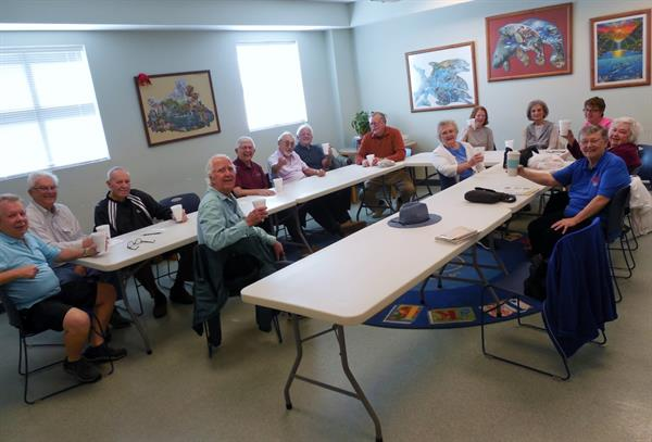 Snowbirds meet for coffee at the Southwest Branch Library meeting room.